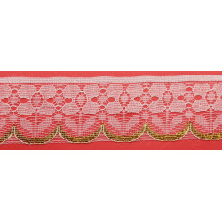 Encaje de Naylon Blanco y Dorado 4,5cm