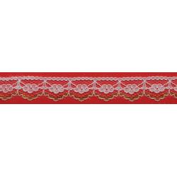 Encaje de Naylon Blanco y Dorado 1,5cm