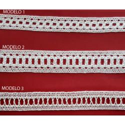 Encaje de Bolillo Blanco (1,4 cm/ 2 cm/1,7 cm y 2,4 cm)
