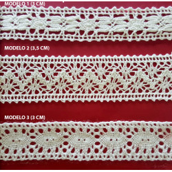 Encaje de Bolillo Blanco (3 cm/ 4 cm y 3 cm)