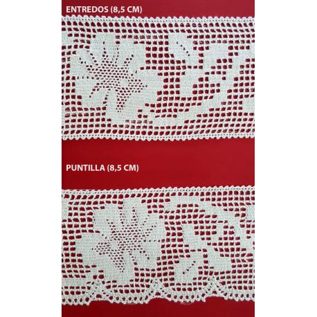 Encaje de Bolillo Blanco (Entredos 8,5 cm y Puntilla 8,5 cm)