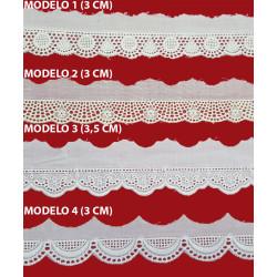 Punta tira bordada beige (3 cm/ 3 cm/ 3,5 cm y 3 cm)