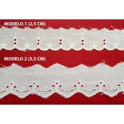 Punta tira bordada beige (2,5 cm y 3,5 cm)