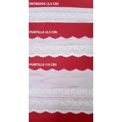 Tira bordada beige (Entredos 3,5 cm/ Puntilla 4,5 cm y Puntilla 10 cm)