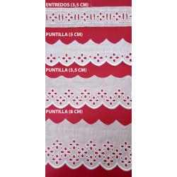 Tira bordada beige (Entredos 3,5 cm/ Puntilla 5 cm/Puntilla 5,5 cm y Puntilla 8 cm)