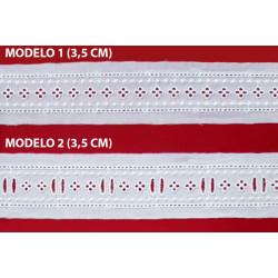Entredos tira bordada beige (3,5 cm y 3,5 cm)