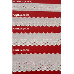 Tira bordada beige (Entredos 2,5 cm/ Puntilla 3 cm/ Puntilla 4 cm y Puntilla 5 cm)