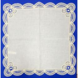 Pañuelo Beige de Encaje de Bruselas (37 x 37 cm)