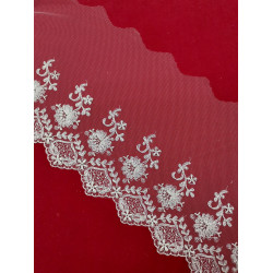 Tul Bordado Color Plata (Bordado 10cm / Total 20cm)