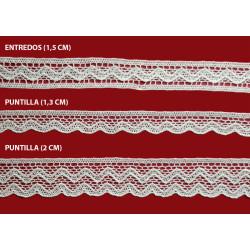 Encaje de Bolillo Blanco (Entredos 2 cm/ Puntilla 1,3 cm y Puntilla 2 cm)