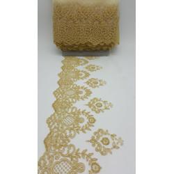 TUL Bordado dorado. (Bordado 14 cm / Total 20 cm)